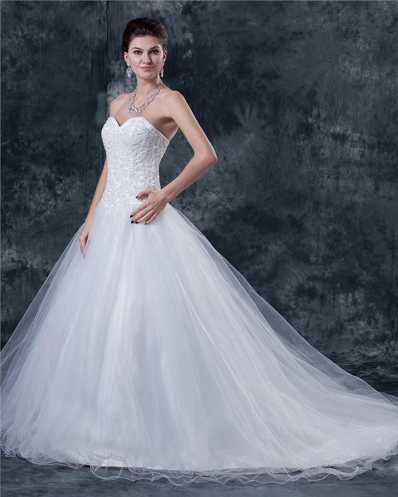 Tulle Satin Sweetheart Beaded Chapel Bridal Ball Gown Wedding Dress