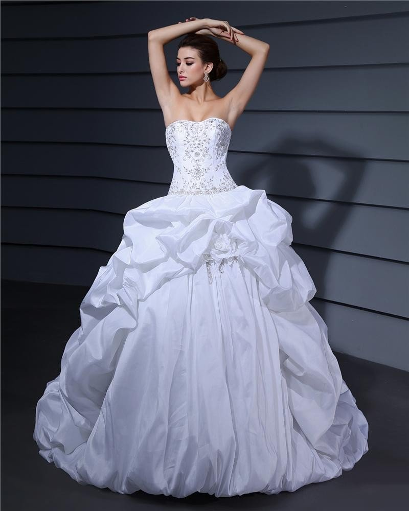 Sweetheart Ruffle Beading Floor Length Charmeuse Ball Gown Wedding Dress