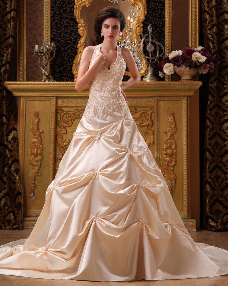 Satin Applique Beading Halter Chapel A-Line V-neck Bridal Gown Wedding Dress