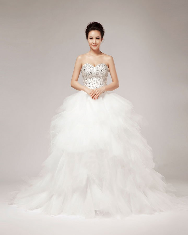 Beading Ruffles Sweetheart Floor Length Tulle Ball Gown Wedding Dress