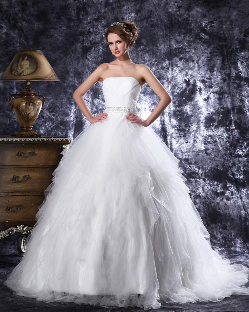 Strapless Floor Length Beading Pleated Tulle Ball Gown Wedding Dress