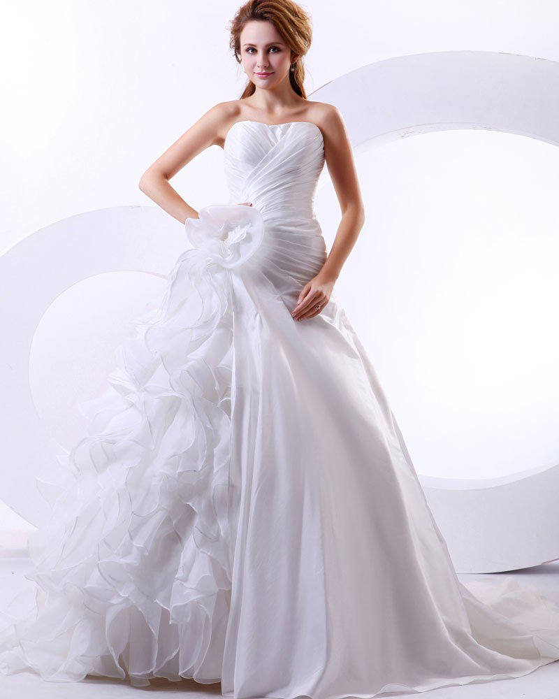Satin Organza Flowers Ruffles Sweetheart Cathedral Train Mermaid Wedding Dresses
