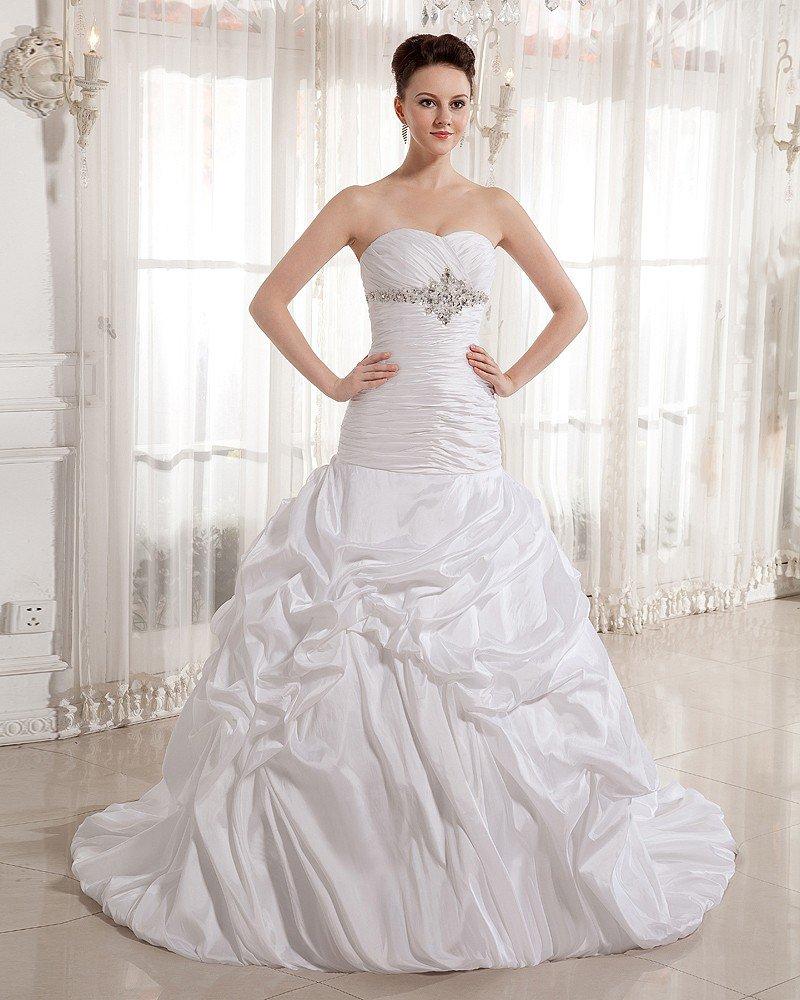 Ruffle Beads Sweetheart Court Empire Bridal Gown Wedding Dress