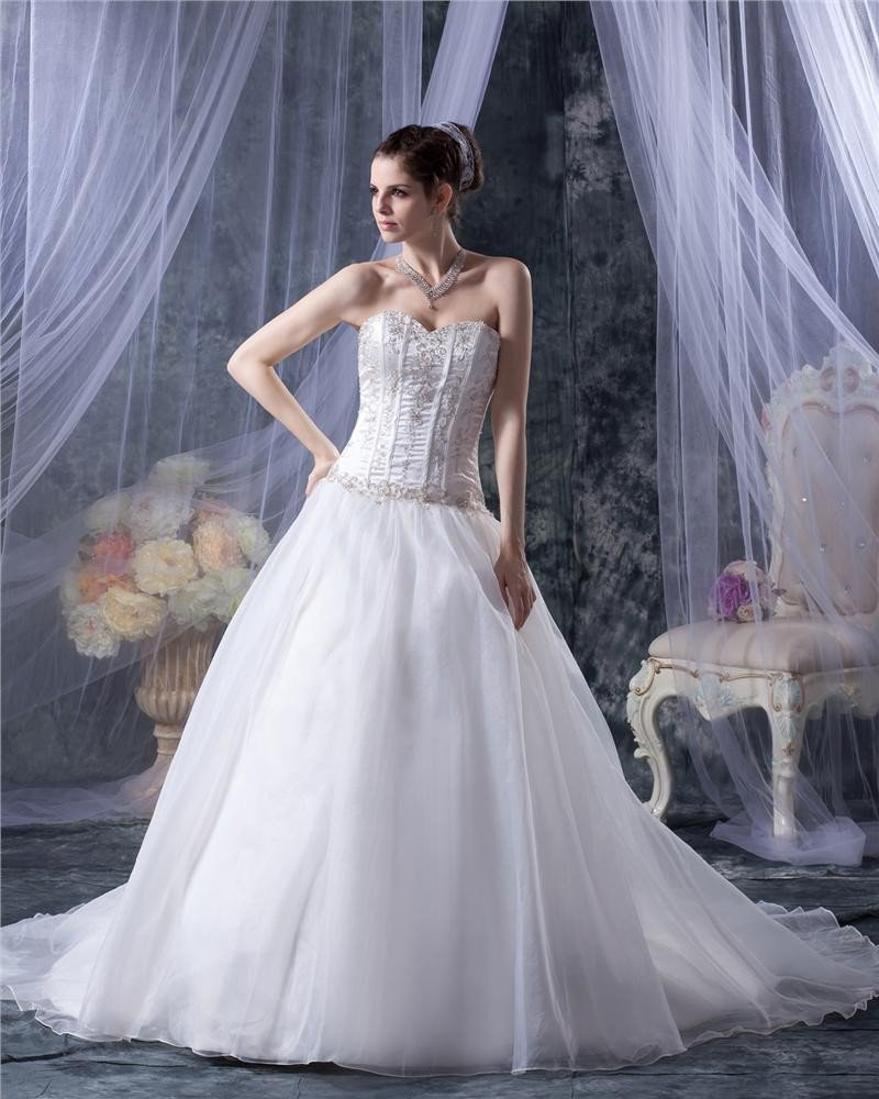 Yarn Sweetheart Applique Beading Chapel Bridal Ball Gown Wedding Dress