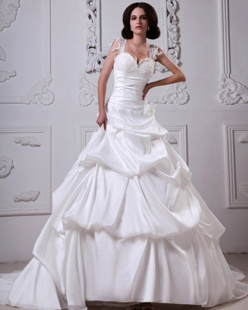 Stylish Satin Ruffle Beading Sweatheart Cathedral A-Line Bridal Gown Wedding Dress