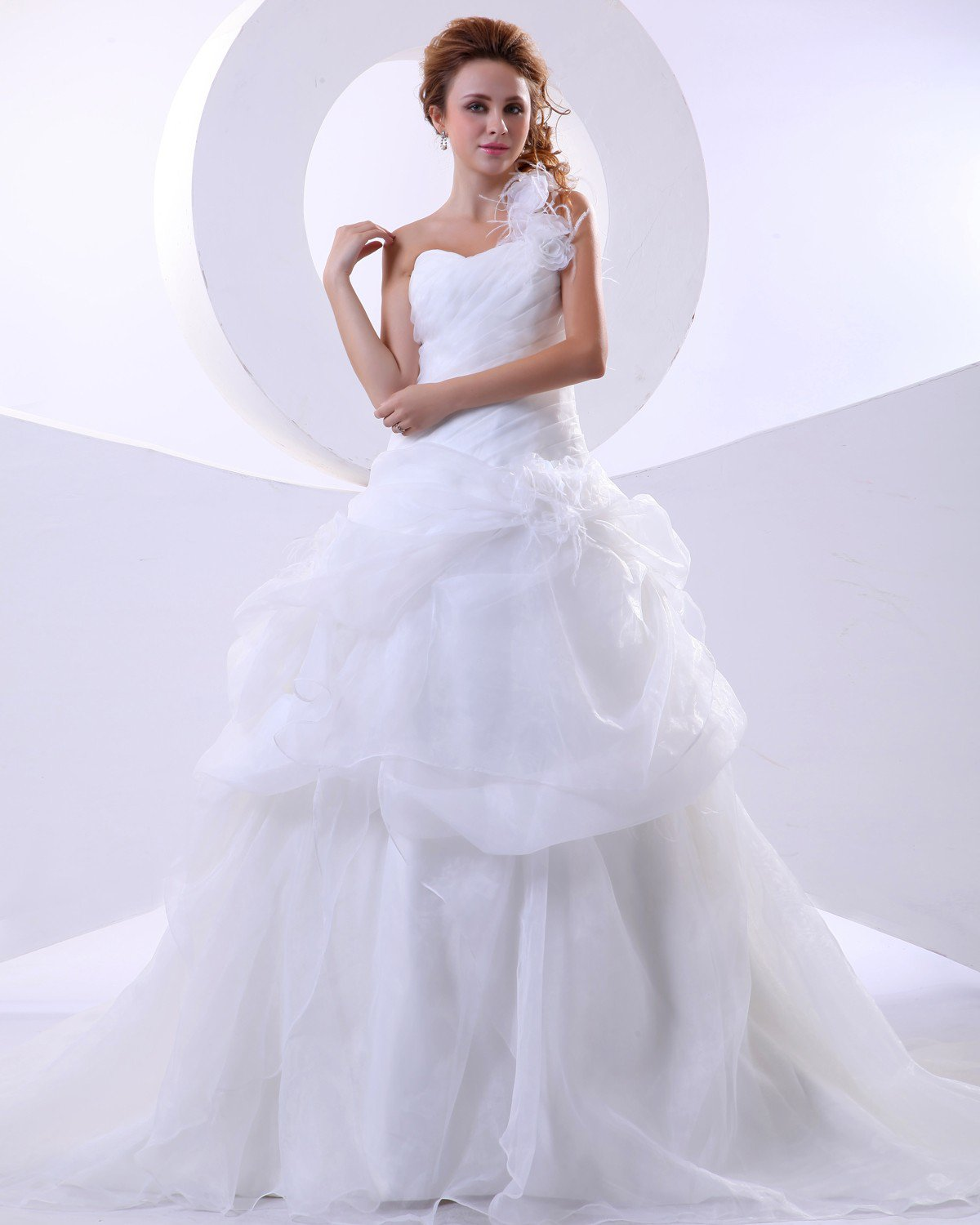 Organza One Shoulder Ruffle Hand Flower Court Bridal Ball Gown Wedding Dress
