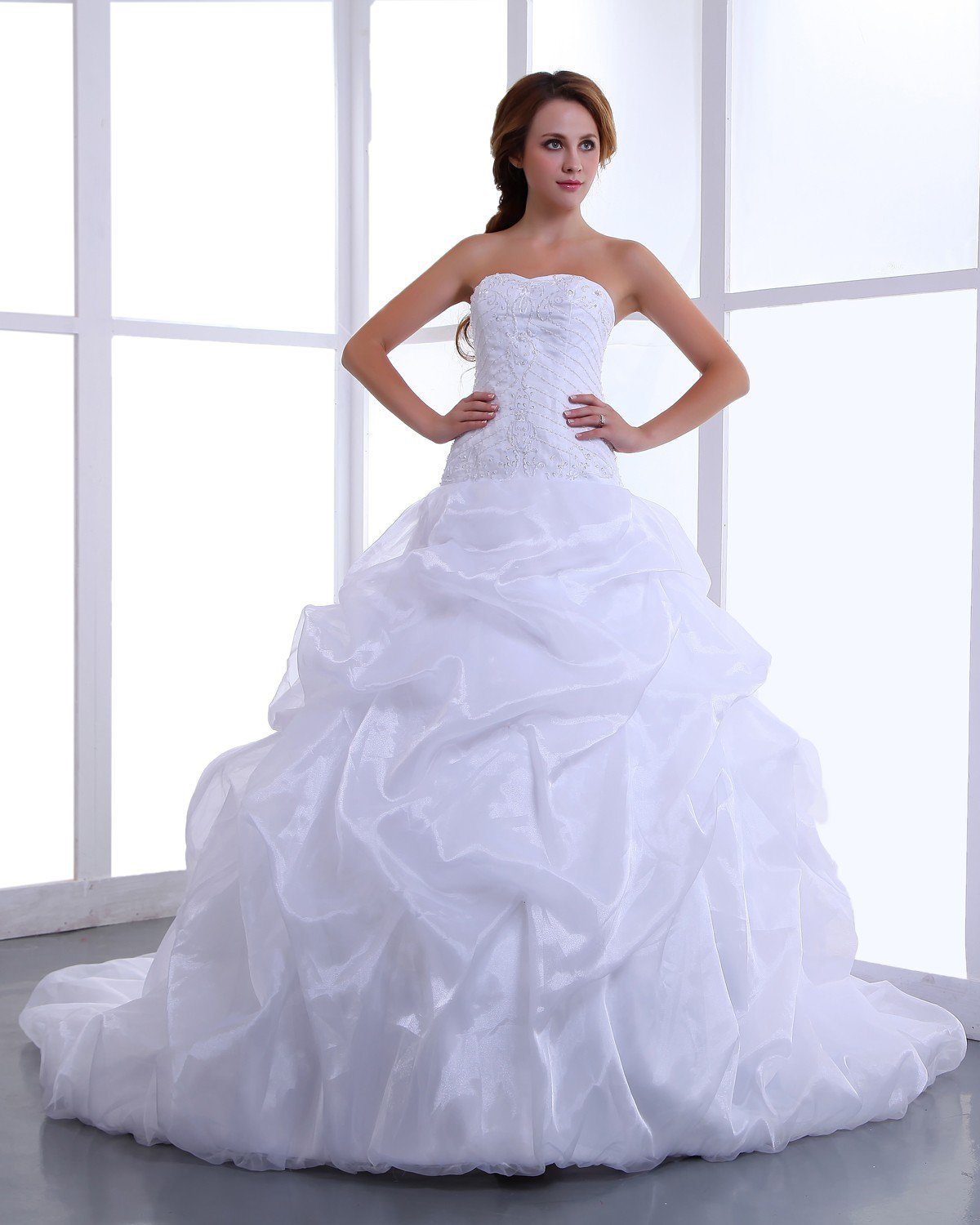 Charming Strapless Satin Taffeta Ruffle Beading Cathedral A-Line Bridal Gown Wedding Dress