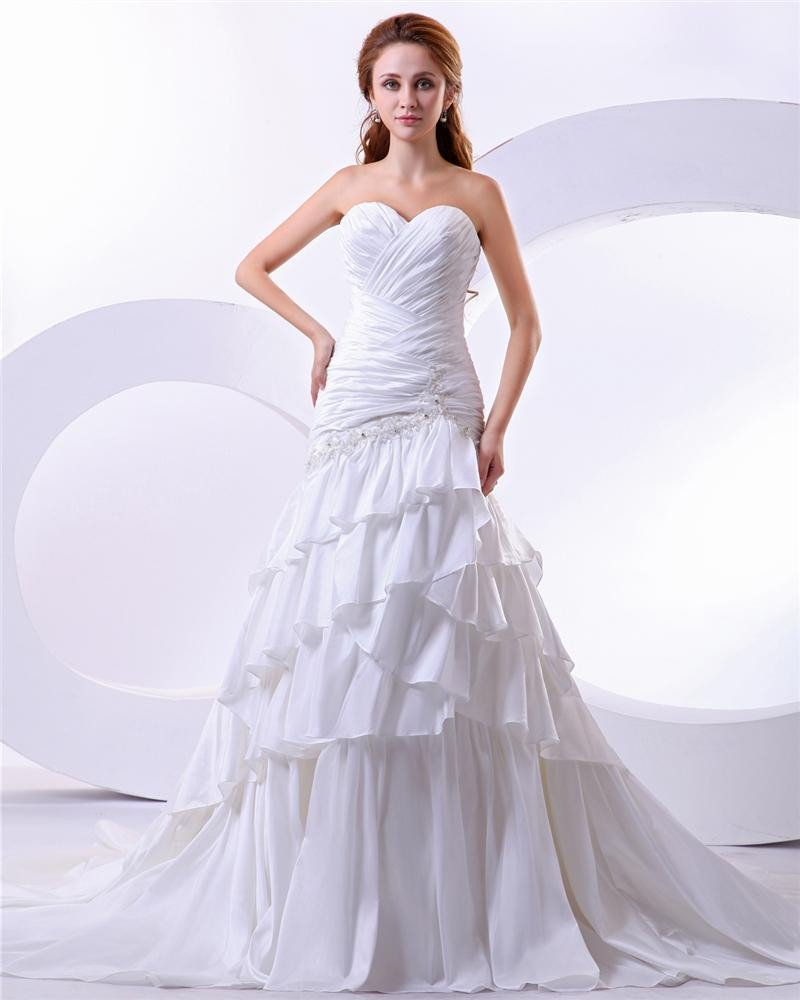 Taffeta Satin Beading Sweetheart Court Mermaid Empire Bridal Gown Wedding Dress