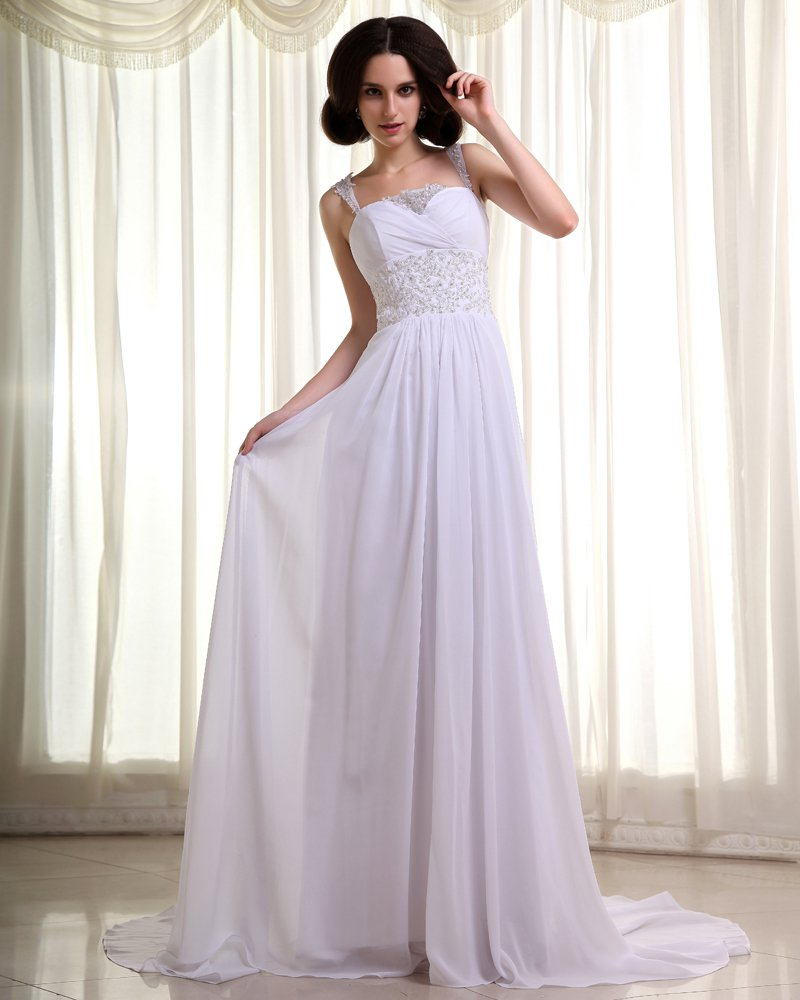 Chiffon Beading Pleated Spaghetti Straps Cathedral Train Empire Wedding Dresses