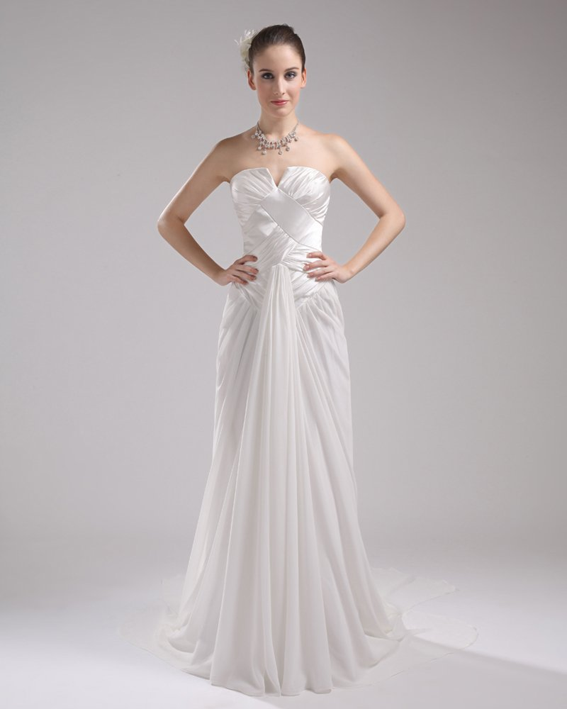 Fashion Chiffon Charmeuse Pleated Sweetheart Court Train Floor Length Empire Wedding Dress
