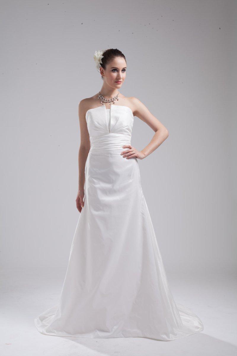 Fashion Taffeta Pleated Strapless Floor Length Empire Wedding Dress