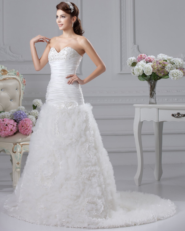 Flower Ruffle Sweetheart Court Empire Bridal Gown Wedding Dress