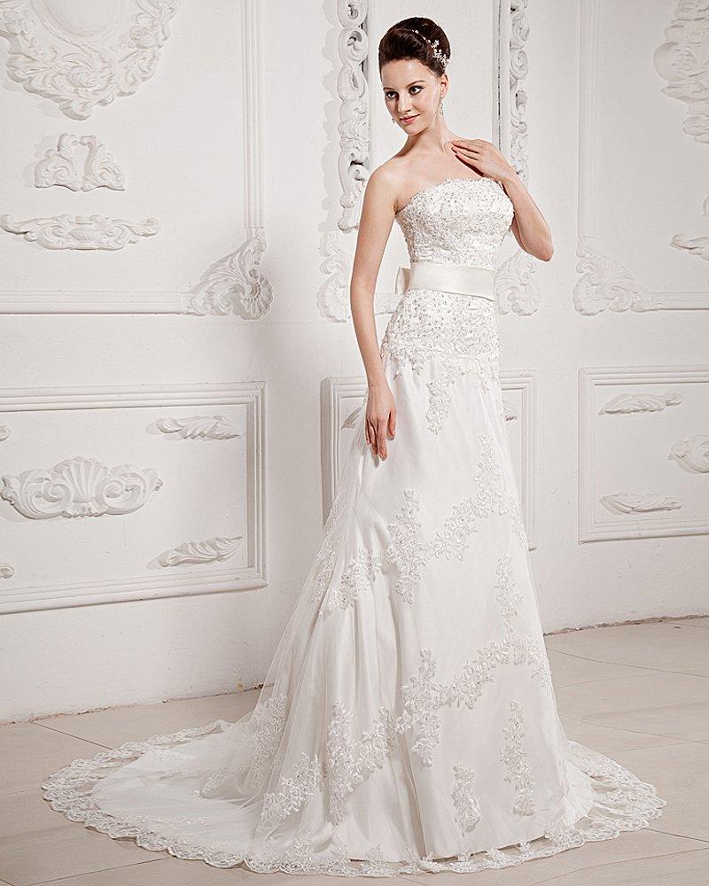 Perfect Strapless Sleeveless Chapel Train Satin Lace Empire Wedding Dress