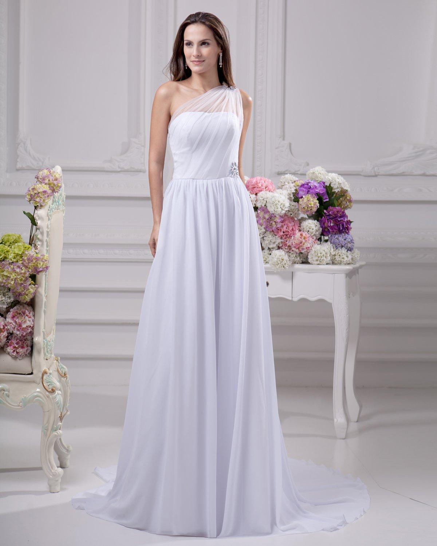 Sloping Floor Length Beading Pleated Chiffon Women Empire Wedding Dress