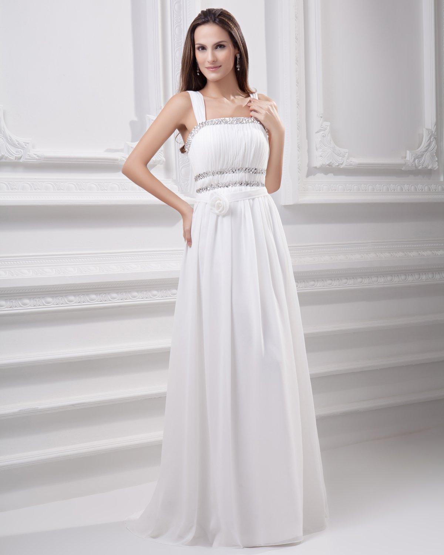 Spaghetti Straps Floor Length Beading Pleated Chiffon Empire Wedding Dress