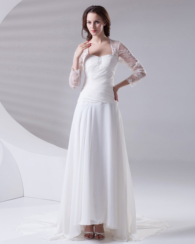 Square Pleated Beading Floor Length Chiffon Lace Woman Empire Wedding Dress