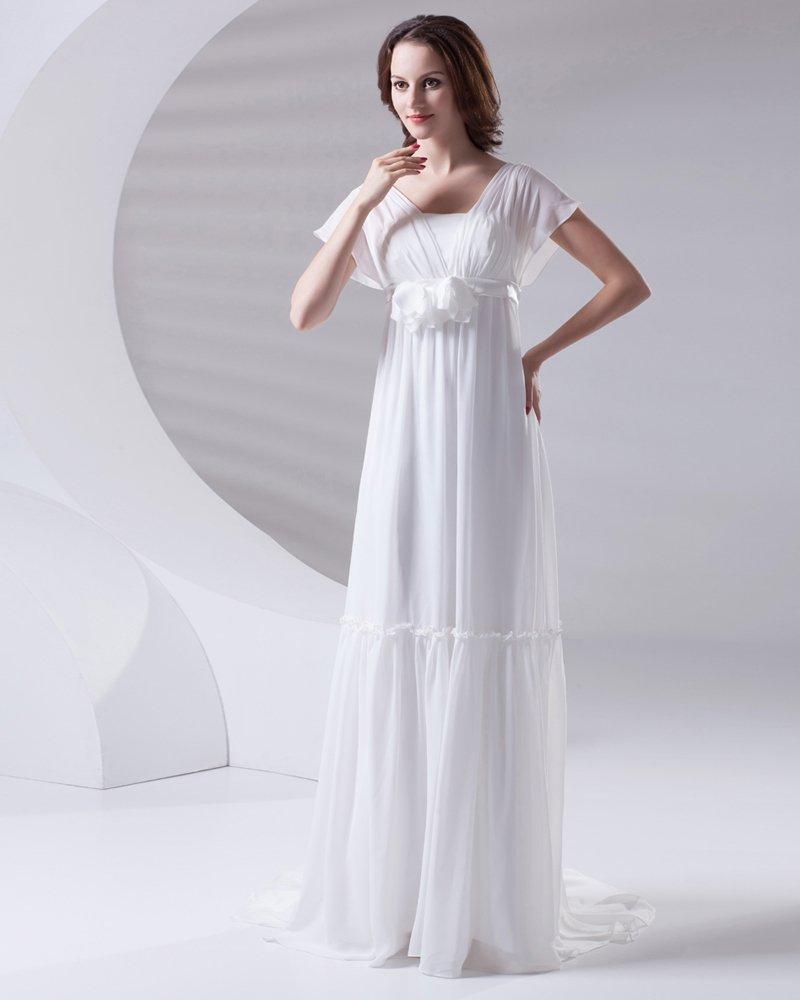 Square Pleated Floor Length Chiffon Woman Empire Wedding Dress