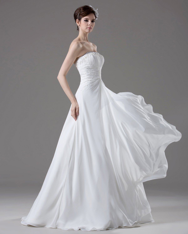 Strapless Beading Pleated Floor Length Chiffon Empire Wedding Dress