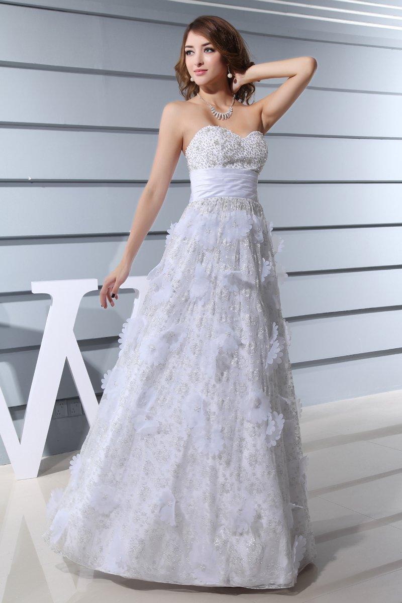 Sweetheart Sleeveless Backless Applique Beading Floor Length Lace Satin Silk Woman Empire Wedding Dr