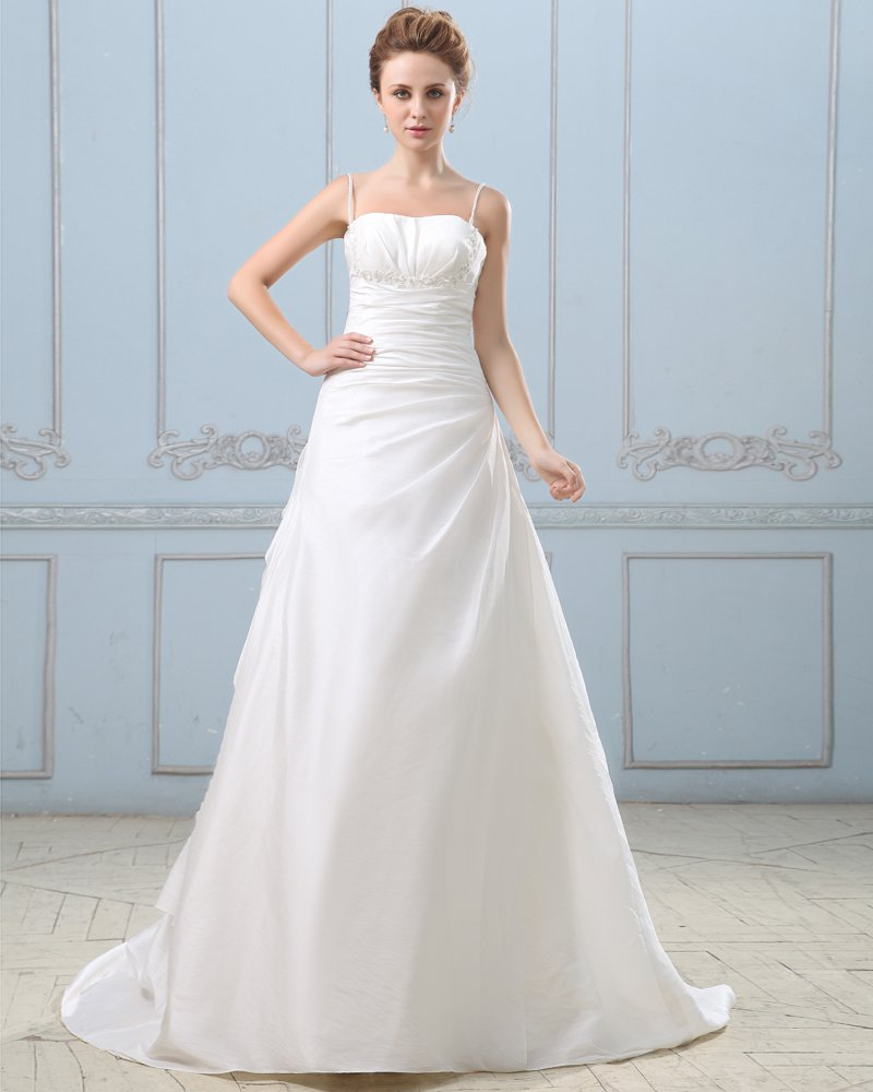 Taffeta Pleated Court Empire Bridal Gown Wedding Dresses
