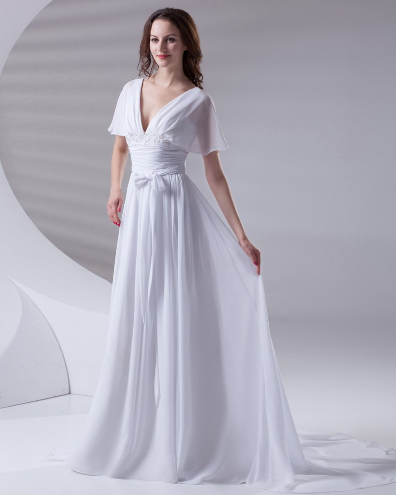 V Neck Ruffle Floor Length Chiffon Woman Empire Wedding Dress