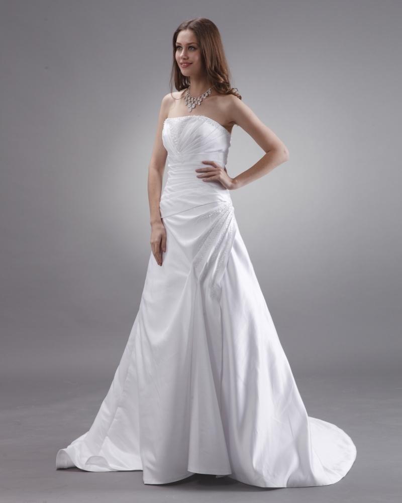 Strapless Beaded Ruffle Satin Court A-Line Bridal Gown Wedding Dress