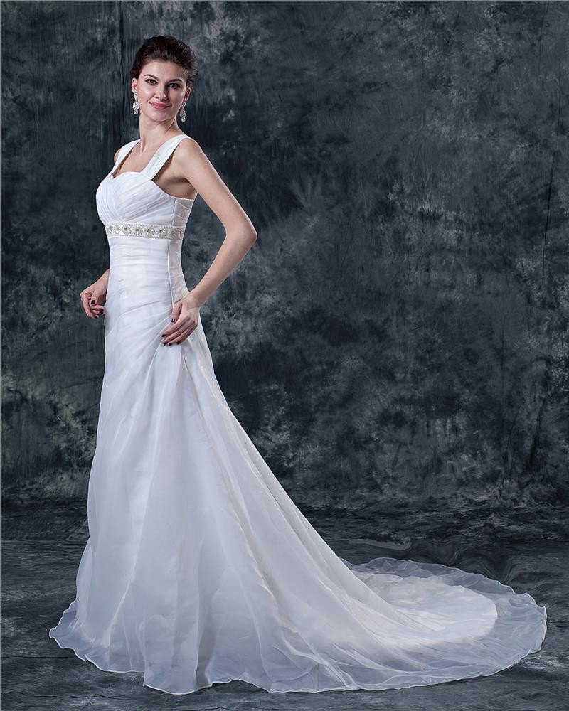 Tulle Beading Shoulder Straps Sweep Empire Bridal Gown Wedding Dress