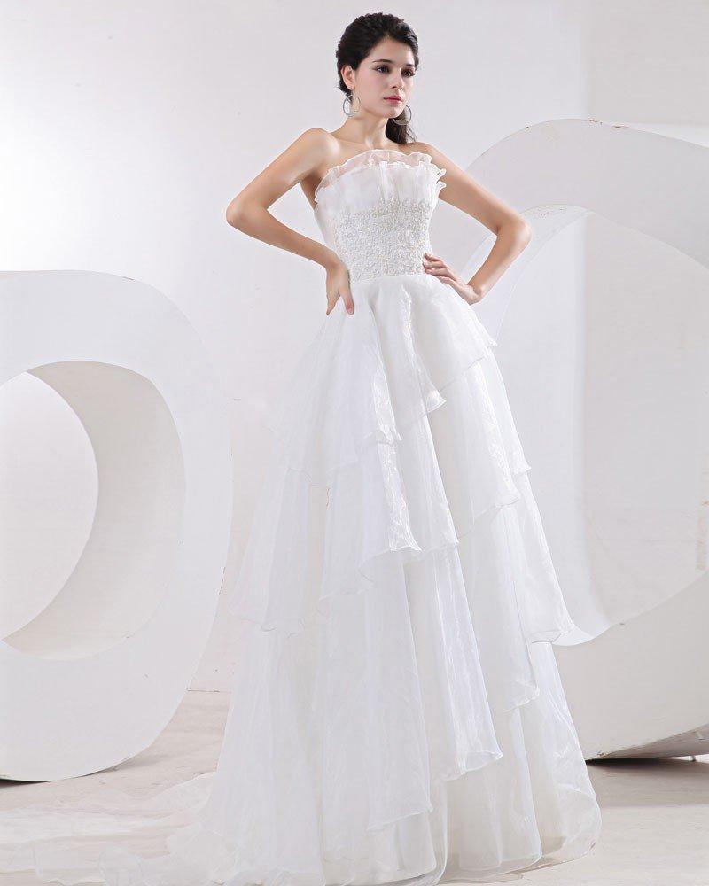Organza Applique Strapless Empire Wedding Dresses
