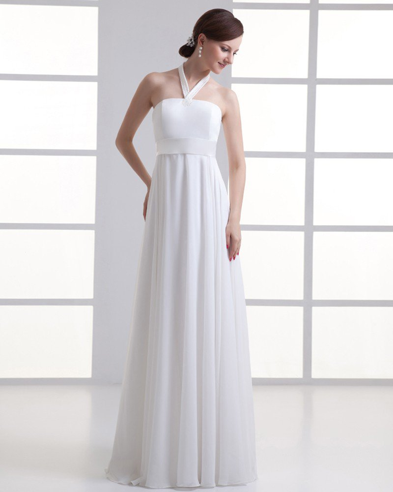Chiffon Beading Halter Floor Length Pleated Empire Wedding Dress