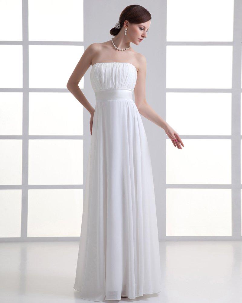 Chiffon Ruffle Strapless Floor Length Pleated Empire Wedding Dress
