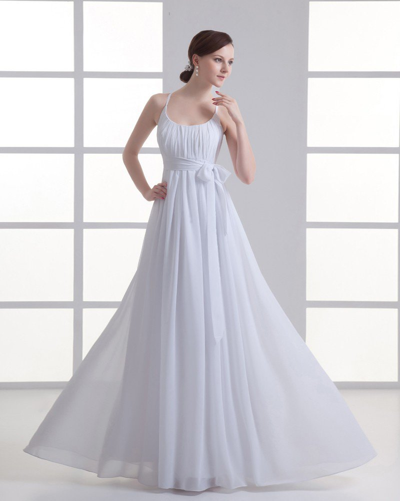 Chiffon Ruffle Bow Scoop Floor Length Pleated Empire Wedding Dress