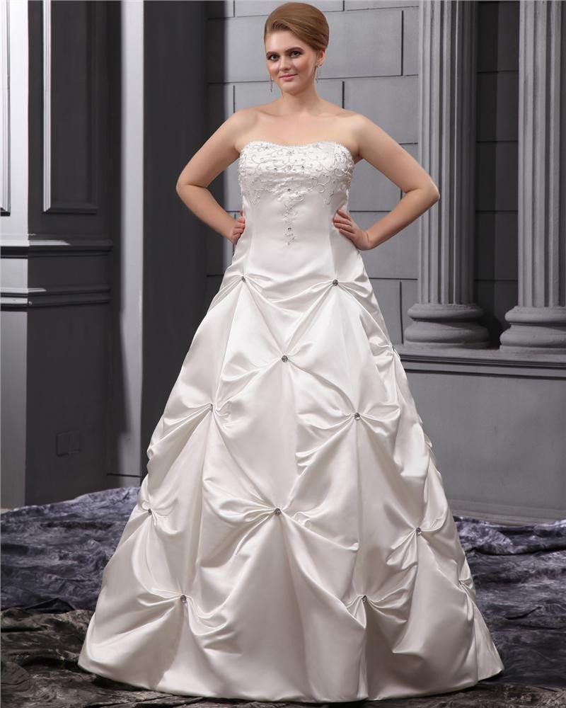 Plus Size Beading Court Bridal Ball Gown Wedding Dress