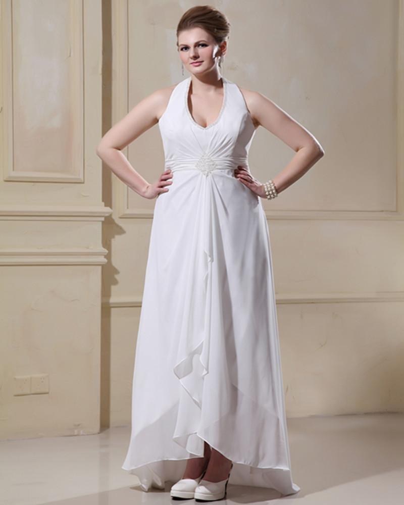 Beading Ruffles Halter Sweep Plus Size Bridal Gown Wedding Dress