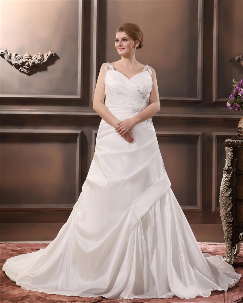 Satin Beading V Neck Court Plus Size Bridal Gown Wedding Dress