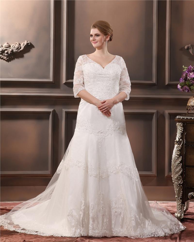 Lace Applique Beading V Neck Plus Size Bridal Gown Wedding Dress