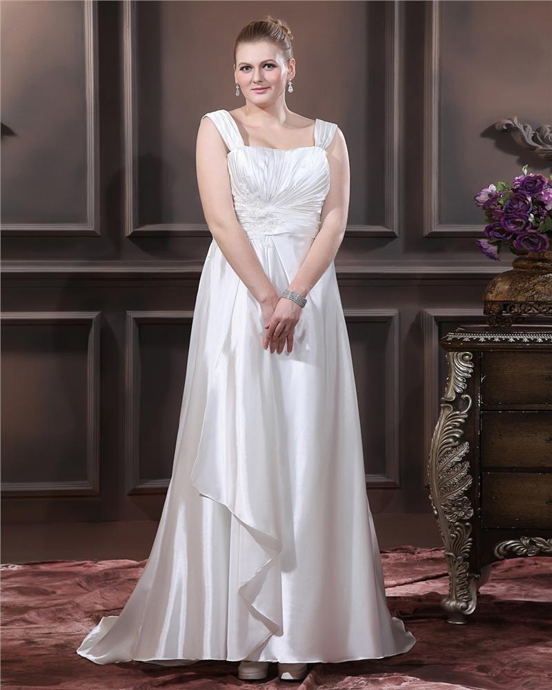 Charmeuse Beading Applique Square Neck Sweep Plus Size Bridal Gown Wedding Dresses
