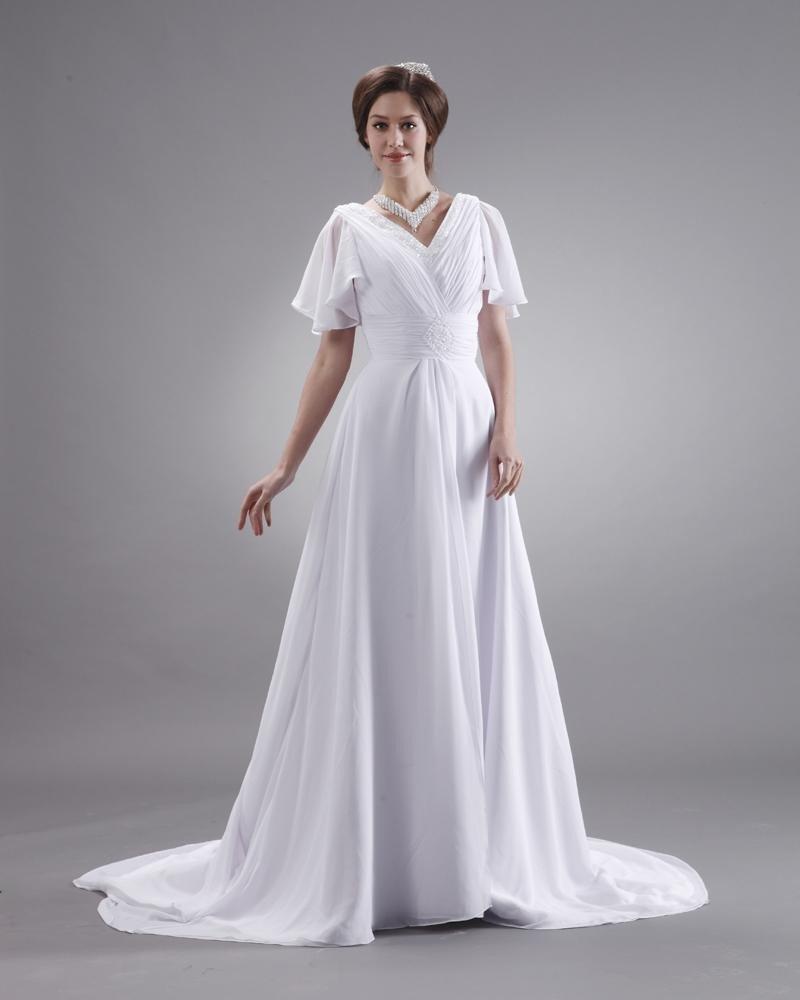 Ruffle V Neck Short Sleeve Court Plus Size Bridal Gown Wedding Dress