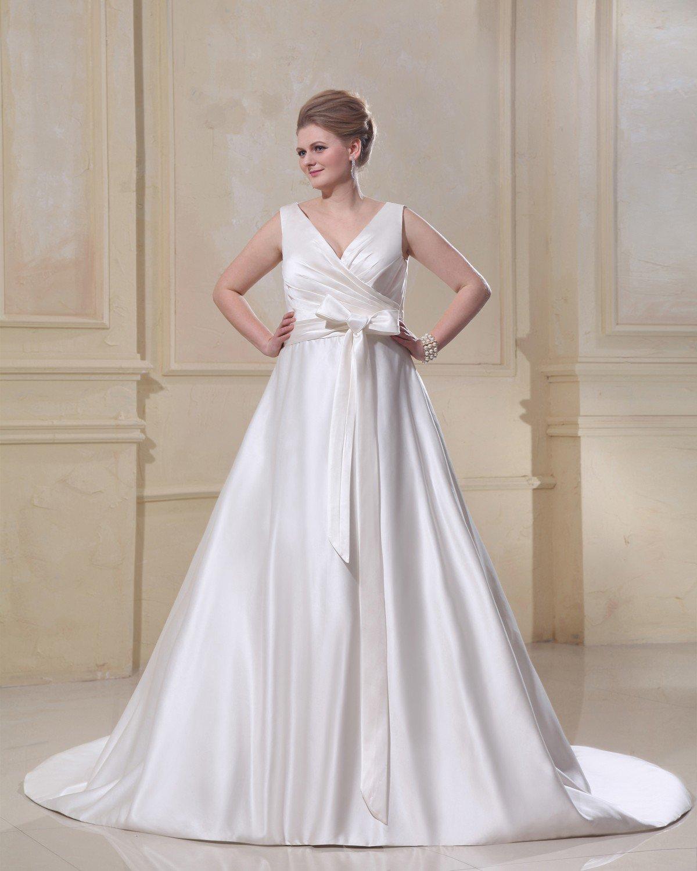 Sash Ruffle V Neck Court Plus Size Bridal Gown Wedding Dresses