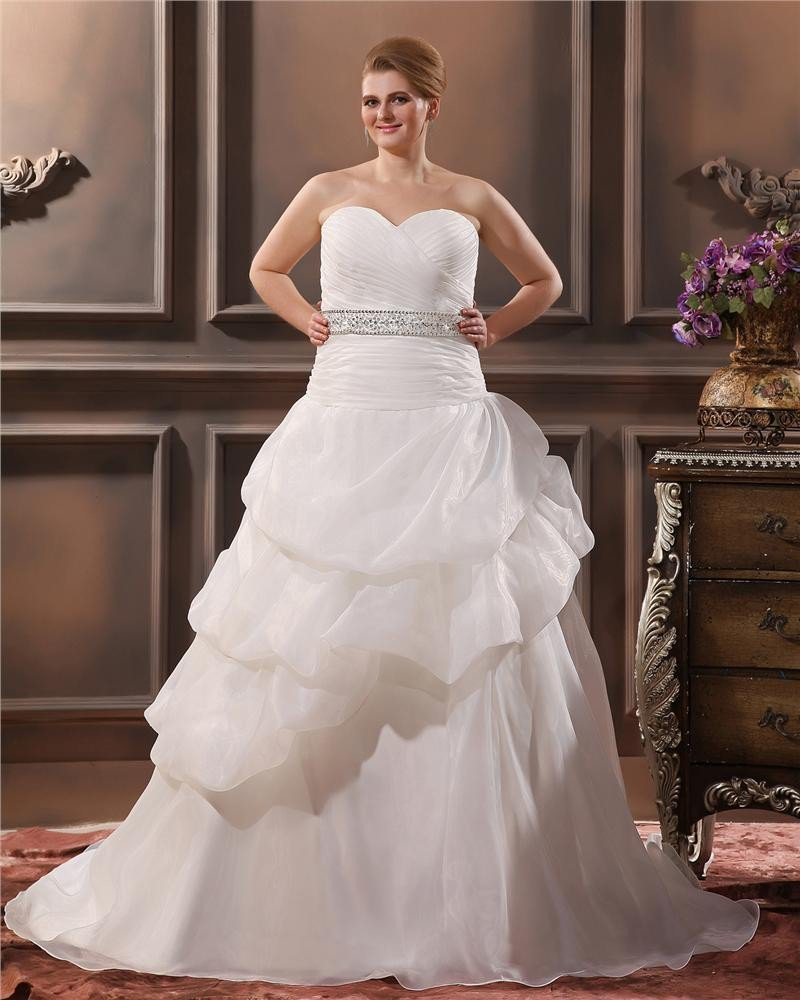 Elegant A-Line Sweetheart Sleeveless Floor-Length Yarn Plus Size Wedding Dresses