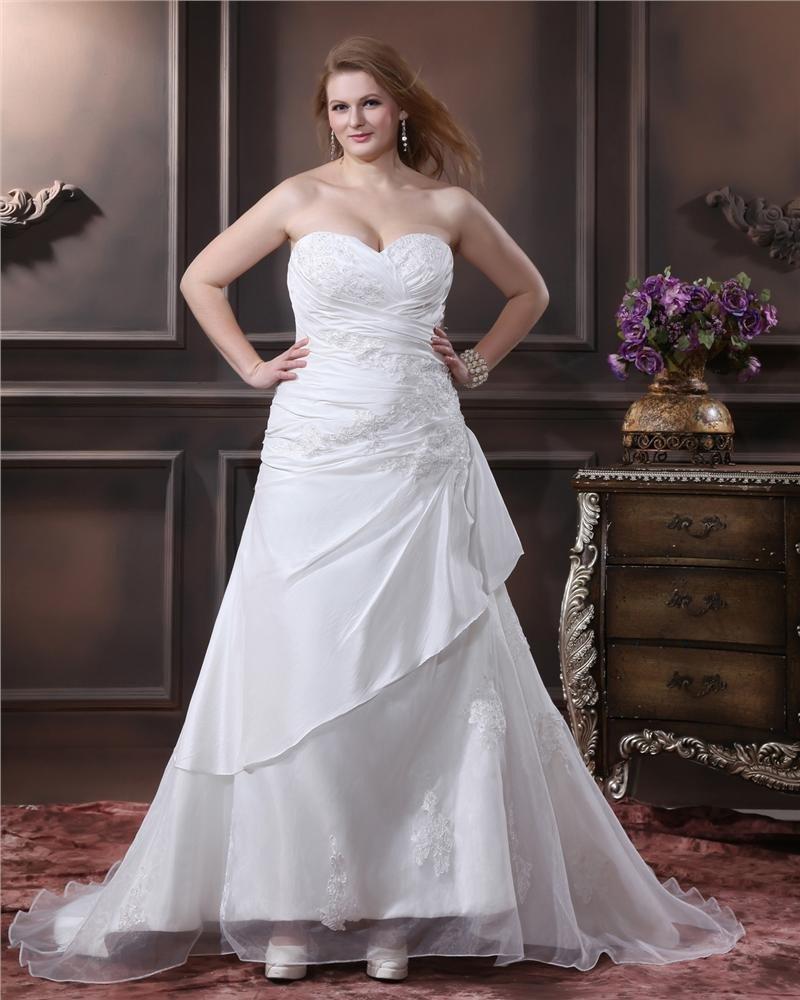Elegant Organza Sweetheart Applique Beading Empire Chapel Train Plus Size Wedding Dresses
