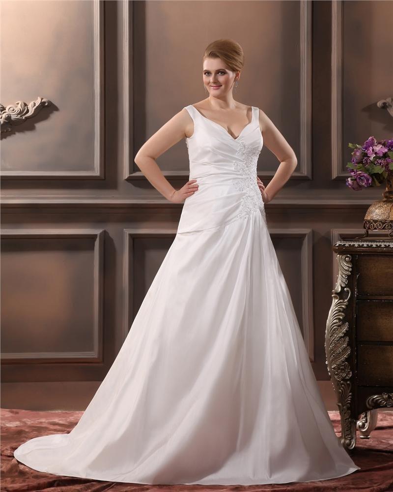 Satin V Neck Applique Court Plus Size Bridal Gown Wedding Dresses