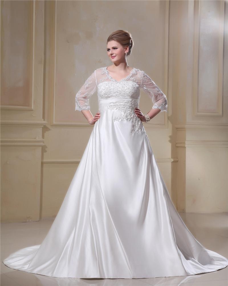 Elegant V-Neck Chapel Train Yarn Satin Plus Size Wedding Dress