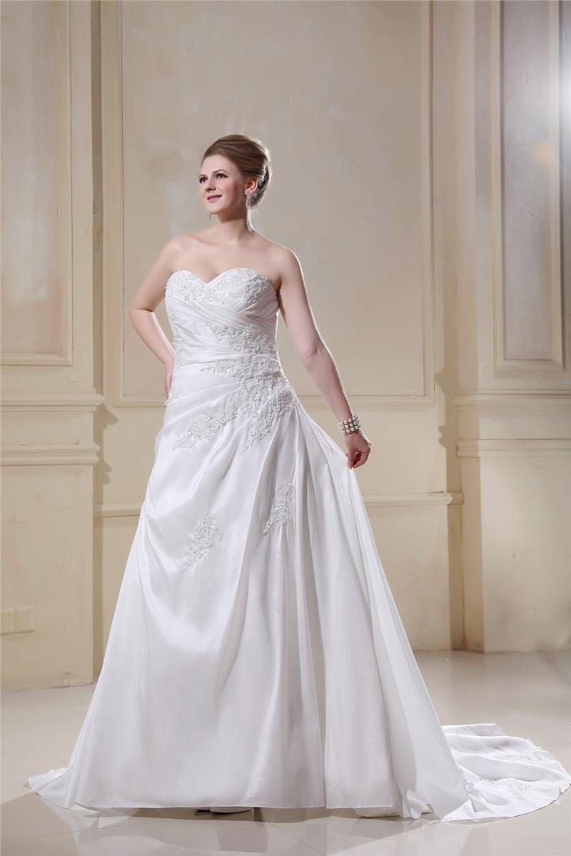 Taffeta Sweetheart Chapel Train A-Line Bridal Plus Size Wedding Dress