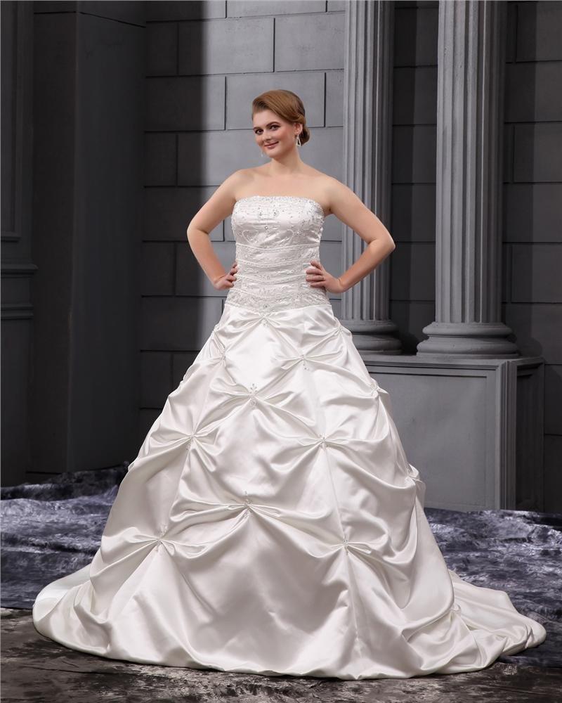 Satin Ruffles Applique Beads Strapless Plus Size Bridal Gown Wedding Dresses