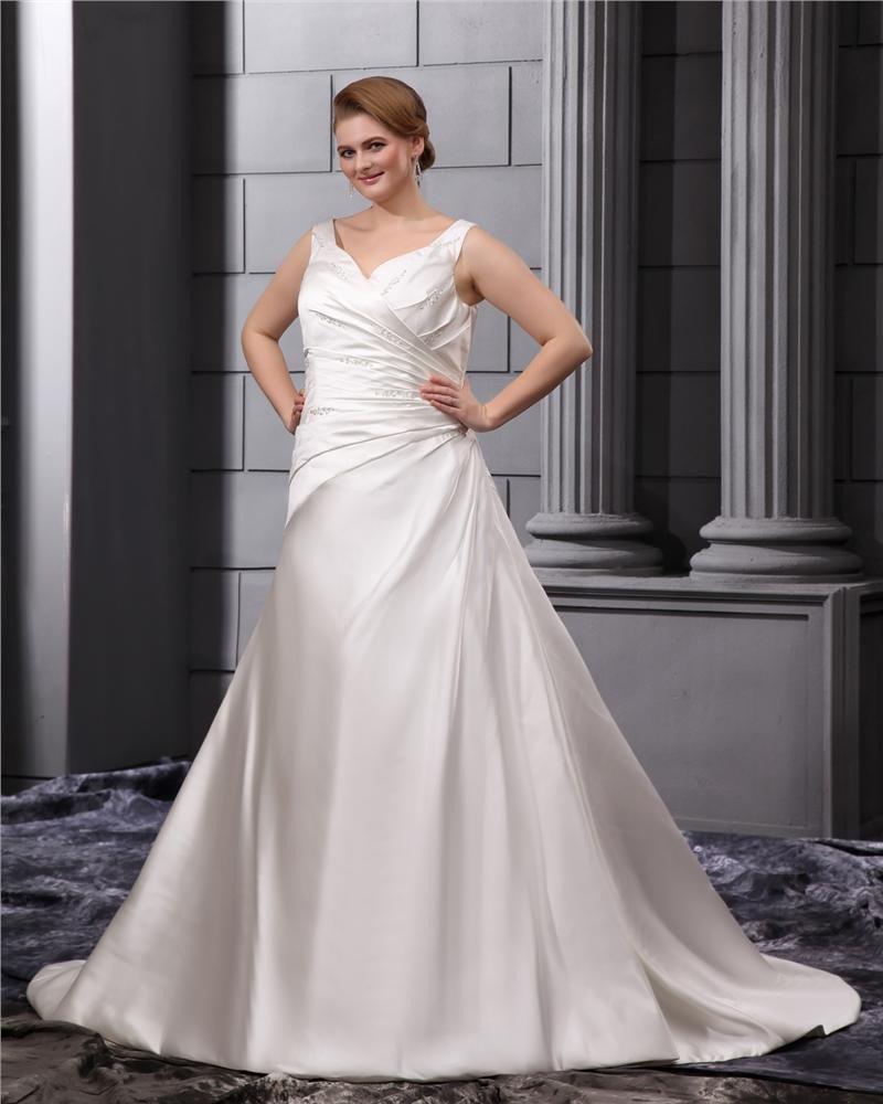 Large Size Satin Sweetheart Chapel Train Wedding Dresses