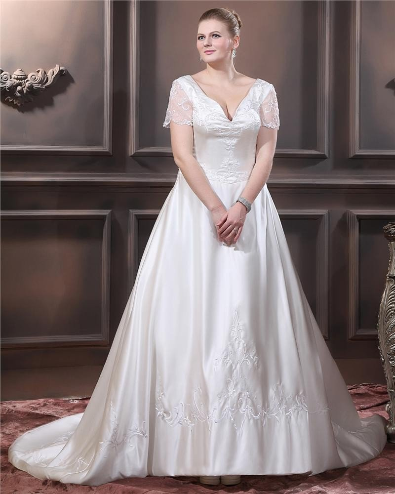 Sweetheart Short Sleeve Sweep Satin Embroidery Large Size Wedding Dress