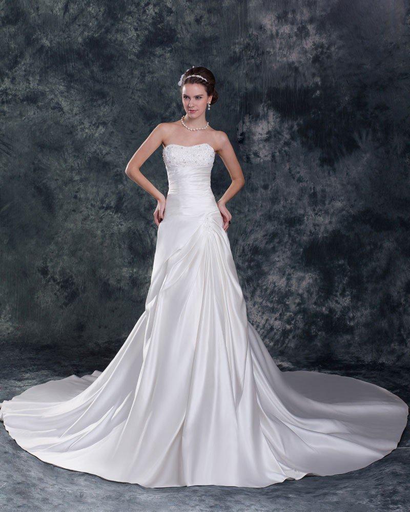 Satin Ruffle Sequins Sweetheart Court Train Sheath Wedding Dress