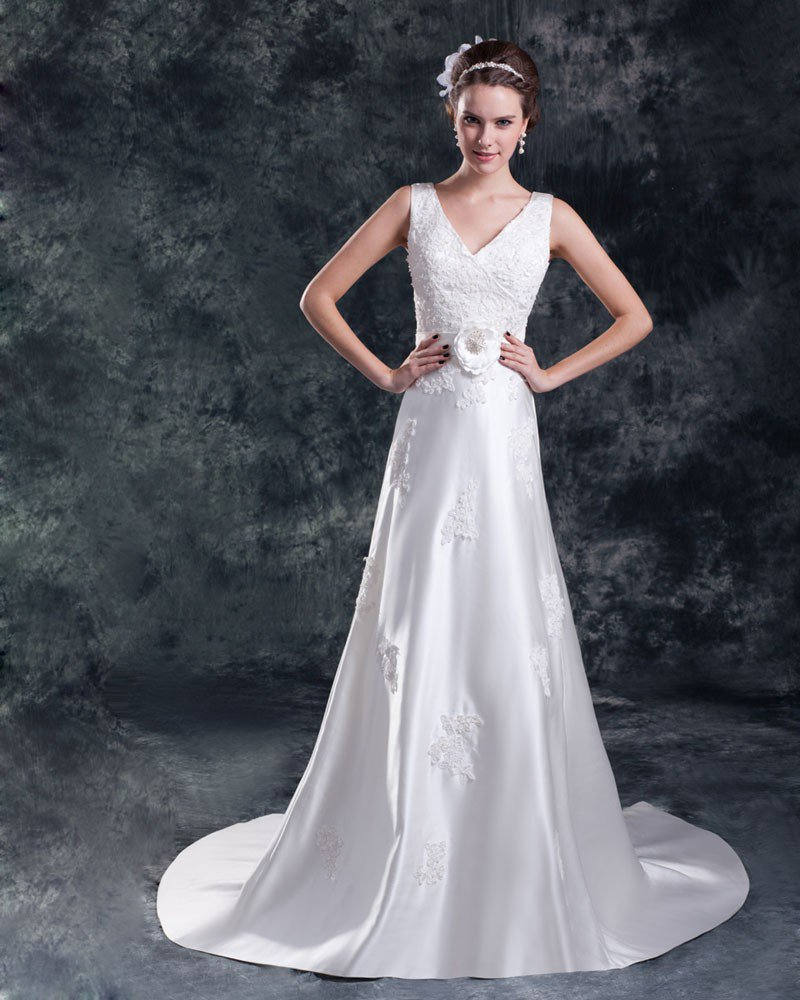 Satin Flower Applique V Neck Court Train Sheath Wedding Dress