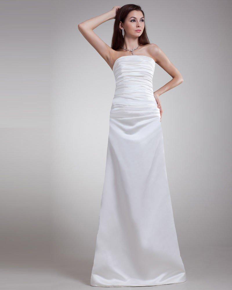 Satin Ruffle Strapless Floor Length Sheath Wedding Dress