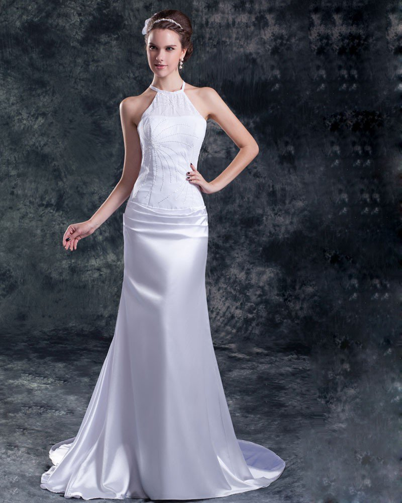 Chiffon Satin Sequins Jewel Court Train Sheath Wedding Dress